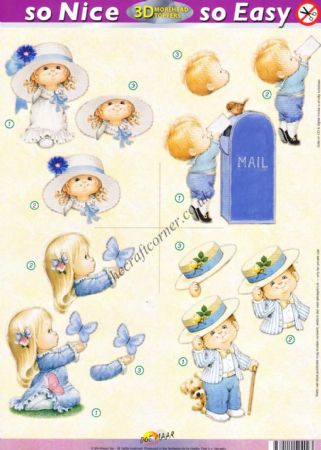 Boys & Girls In Blue So Nice, So Easy Morehead 3D Die Cut Decoupage Sheet